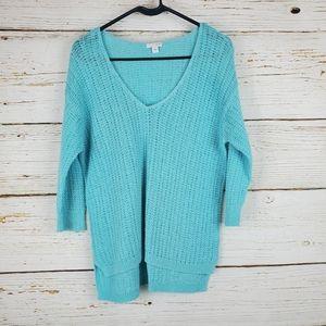 J.Jill Turquoise Open Knit Sweater